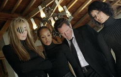 The Deadly Vipers. Left to right: Elle Driver (Daryl Hannah), Vernita Green (Vivica A. Fox), Budd  (Michael Madsen), and O-Ren Ishii (Lucy Liu)